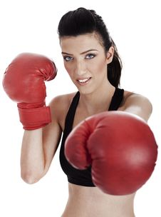 Free Woman Boxer Giving A Punch Stock Photos - 13721743