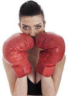 Free Woman Covering Her Mouth With Red Gloves Stock Image - 13721921