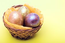 Free Easter Eggs In A Basket Stock Photography - 13722072