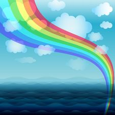 Free Blue Water Background With Rainbow Royalty Free Stock Photos - 13722178