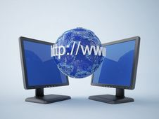 Free Monitors With Blue Earth Stock Photography - 13723662