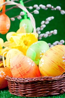 Free Easter Eggs And Flowers Stock Photo - 13724200