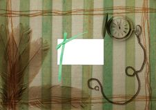 Free Green Striped Background With Pen And Watch Royalty Free Stock Photos - 13724518