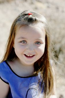 Happy, Smiling Girl Portrait In Desert Royalty Free Stock Photo
