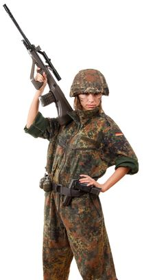 Free Military Woman Aiming Stock Photography - 13725252