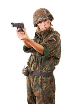Free Military Woman Aiming Royalty Free Stock Photography - 13725257