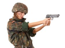 Free Military Woman Aiming Stock Photography - 13725262
