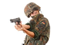 Free Military Woman Aiming Royalty Free Stock Image - 13725266