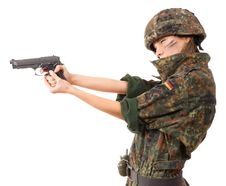Free Military Woman Aiming Royalty Free Stock Photography - 13725267