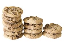 Stacks Of Chocolate Chip Cookies Royalty Free Stock Photos