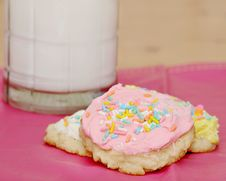 Free Sugar Cookies And Milk Stock Photos - 13725943