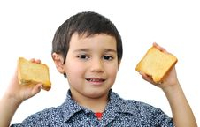 Free Kid With Bread Stock Image - 13726011
