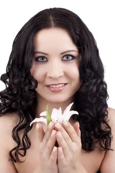 Free Women With A Lily Flower Stock Images - 13726134