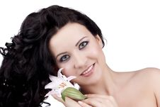 Free Women With A Lily Flower Royalty Free Stock Image - 13726136
