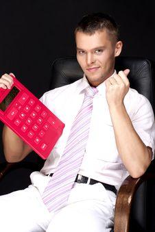 Businessman With Calculator Stock Photo