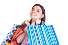 Free Girl With Many Shopping Bags Stock Photography - 13727772