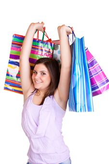 Free Young Woman  Holding Colorful Bags Stock Images - 13727794