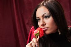 Free Beautiful Woman With A Rose Stock Photography - 13729262