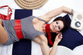 Free Pin-up Woman Laying And Listening Music Royalty Free Stock Photos - 13734258