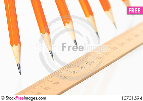 Free Pencils And Ruler Stock Images - 13731594
