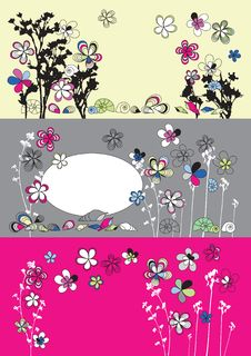 Free Graphic Set With Flowers Stock Image - 13731381