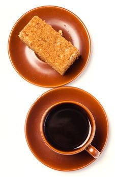 Free Caffee And Honey Cake Stock Images - 13731674