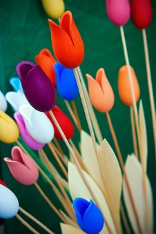 Free Wooden Tulips Royalty Free Stock Image - 13732396
