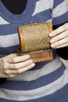 Free Hands Holding A Decorative Wooden Box Royalty Free Stock Photo - 13734355