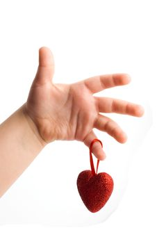 Free Red Heart In The Children S Arm Royalty Free Stock Photography - 13735127