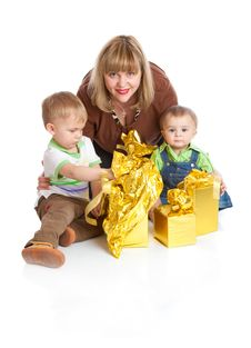 Two Boys And Mother With Gifts