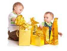 Free Two Boys With Gifts Stock Photo - 13735960