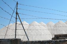 Salt Mine And Wires Against Blue Sky Stock Photography