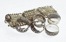 BRACELET AND RINGS Royalty Free Stock Photo