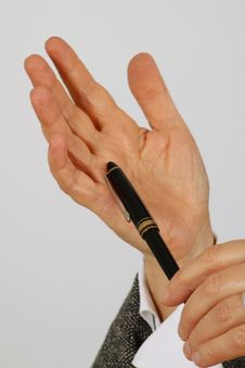 Free Pen In Woman Hand Stock Photos - 13736393