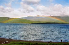 Lake Te Anau Rainbow, New Zealand Royalty Free Stock Photography