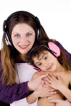 Free Mother And Child With Headphones Stock Photo - 13736770
