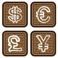 Free Brick Buttons With Icons Of Financial Symbols Royalty Free Stock Photography - 13738137