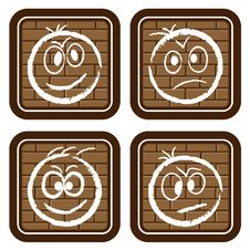 Brick Buttons With Icons - Smiles For Web Stock Images