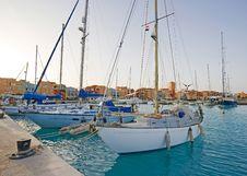 Sailing Yachts In A Marina Stock Images