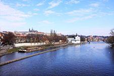 The Panoramic View On Spring Prague Stock Photos