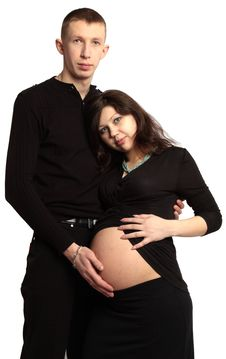 Free Man Holding His Pregnant Woman S Belly Royalty Free Stock Photo - 13738685