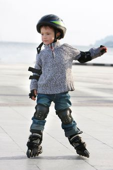 Free Young Boy In Roller Blades Royalty Free Stock Photos - 13738888
