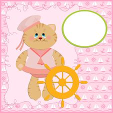 Free Baby S Postcard With Sailor Cat Stock Photography - 13739772