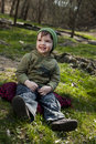 Free Little Boy Sitting On A Scarf Royalty Free Stock Photo - 13743175