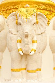 Elephant In Thai Style Molding Art Stock Photo