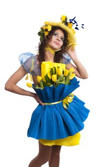 Free Fashion Woman Is Bunch Of Flowers. Stock Photos - 13741083