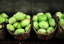 Free Cabbages In Baskets Royalty Free Stock Photos - 13741358