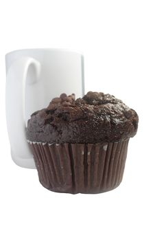 Free Chocolate Muffin And White Cup On White Backgroun Royalty Free Stock Photos - 13741558