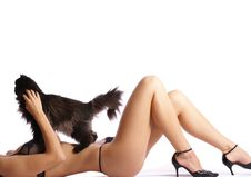 Free Body Of A Beautiful Woman Holding A Black Cat Stock Photo - 13742490
