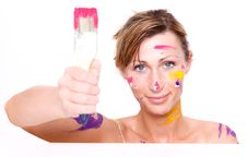 Free Brush Colorful Paint Portrait Stock Image - 13742591